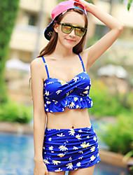 Women's Flower Pattern Split Skirt Style Swimsuit