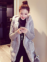 Women Rabbit Fur / Faux Fur Outerwear / Top , Hoodie / Lined