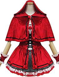 One-Piece/Dress / Maid Suits Classic/Traditional Lolita Lolita Cosplay Lolita Dress Red Patchwork Short Sleeve Short Length Dress For