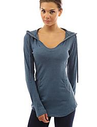 Damen Solide Einfach Lässig/Alltäglich T-shirt,Mit Kapuze Winter Langarm Blau / Rot / Schwarz / Grau Baumwolle Dick