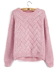 Women's Fashion Casual Solid Plaid Round Neck Cashmere Knit Sweater