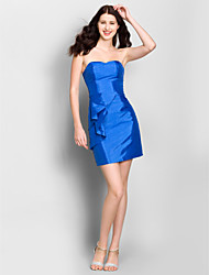 Short/Mini Taffeta Bridesmaid Dress Sheath/Column Strapless