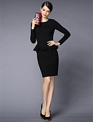 Sheath / Column Mother of the Bride Dress Knee-length Long Sleeve Polyester with