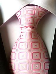 Men Wedding Cocktail Necktie At Work Pink White Tie