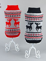 Cat Dog Sweater Red Black Dog Clothes Winter Spring/Fall Reindeer Christmas New Year's