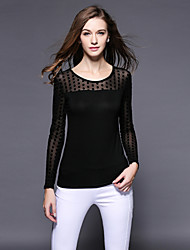 Women's Polka Dot / Solid / Patchwork Black T-shirt , Round Neck Long Sleeve / Plus Size Women's Pattern Color Tops Type