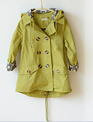 Girl's Fashion Simplicity Cotton Winter Solid Color green  Even the Cap  Long Trench Coat