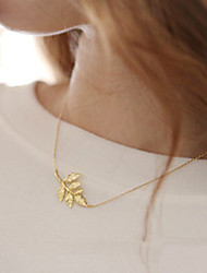 Women's Simple Fashion Metal Leaves Clavicle Chain Leaf Pendant Necklace