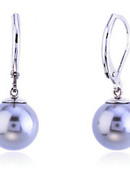 Drop Earrings Pearl Silver Plated Shell Fashion Gray Jewelry Party Daily Casual 2pcs