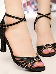 Rhinestone Women's Dance Shoes Latin / Salsa / Samba/Ballroom Satin Customized Heel Black and gold
