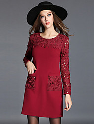 Women's Lace Casual/Daily Plus Size Dress,Solid Round Neck Above Knee Long Sleeve Red/Black Cotton Fall