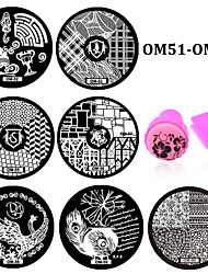 10pcs Flower Pattern DIY Steel Plate Nail Art Image Print Stamp Stamping Manicure Template DIY Polish Tools (OM51-OM60)