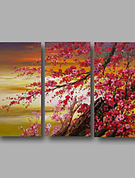 Ready to Hang Hand-Painted Oil Painting on Canvas Wall Art Contempory Abstract Flowers Pink Blossom Three Panels