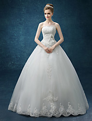 A-line Wedding Dress Floor-length Strapless Organza / Satin with Bow / Lace
