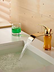 moderne laiton cascade imitation jade ti-PVD robinet d'évier de salle de bains - or
