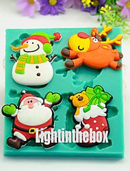 4 in 1 Christmas Snowman Santa Deer Socks Silicone Chocolate Pudding Sugar Ice Cake Mold