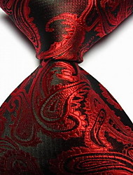 Men Wedding Cocktail Necktie At Work Black Red Flower Tie