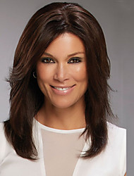 Brown Color Long Length High Quality Natural Straight Hair Synthetic Wig with Side Bang