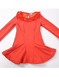 Girl's Dresses Long Sleeve Round Collar Purity Sanding One Piece Dresses  (Cotton)