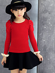 Girl's  Vogue  Solid Color Round Collar  Bishop Sleeve  Knitting Sweater