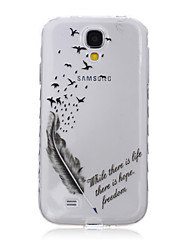 For Samsung Galaxy Case Transparent / Pattern Case Back Cover Case Feathers TPU SamsungS6 edge plus / S6 edge / S6 / S5 Mini / S5 / S4