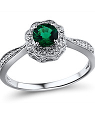 Women's Antique Sterling Silver set with Created Emerald and Diamond  Ring