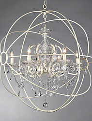 60 Chandelier ,  Vintage Painting Feature for Crystal Metal Dining Room Study Room/Office Entry Hallway