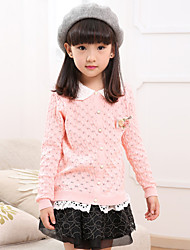 Girl's  Vogue  Solid Color  lapel  Pierced  falbala  Knitting  Cardigan Sweater