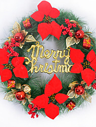 Holly Wreath Hanging Christmas Ornaments Red And Gold Door Wreath Of Pine Needles Wall