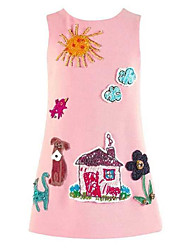 Girl's Dresses Sleeveless Round Collar Patch Cartoon Fashion One Piece Dress (Cotton)