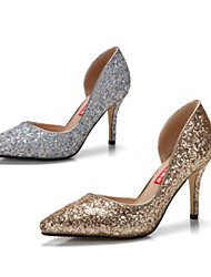 2015 high heels pointed fine sequins with silver single shoes light mouth hollow out shoes the wedding shoes