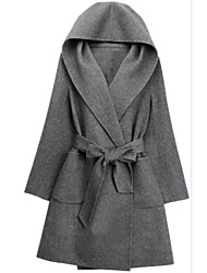 Women's Plus Size Coat,Solid Hooded Long Sleeve Winter Black / Brown / Gray Cashmere Opaque