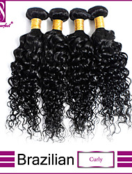 4pcs / lot brazilian krullend maagd haar weefsel bundels krullend maagd haar jet zwart krullend weave human hair extensions