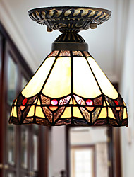 E27 220V 20*17CM 3-5㎡European Rural Creative Arts Stained Glass  Absorb Dome Lamp Led Light