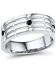 Men's Fashion Sterling Silver set with Black Cubic Zirconia Wide Band Ring