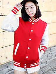 Women's Patchwork Red / Black Hoodies , Casual Stand Long Sleeve