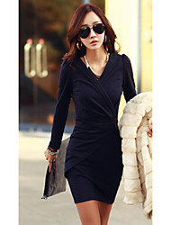 Women's Solid Red / Black Dress , Bodycon V Neck Long Sleeve