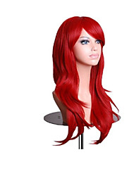 Capless Red Extra Long High Quality Natural Curly Synthetic Wig with Side Bang