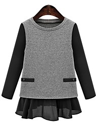 Unni Women's Color Block Black / Gray T-Shirts , Casual Round Long Sleeve Plus Size