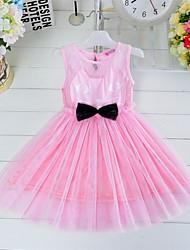 Vestido Chica de - Verano - Algodón / Malla - Negro / Rosa