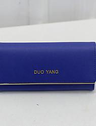 Women PU Tri-fold Clutch / Wallet / Checkbook Wallet - Purple / Blue / Red / Gray / Black