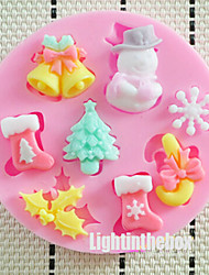 8 in 1 Christmas Tree Snowman Candy Bar Bells Socks Snow Silicone Chocolate Pudding Sugar Ice Cake Mold Random Color