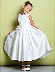 A-line Ankle-length Flower Girl Dress - Lace Satin Jewel with Lace