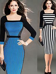 Women's Sexy Bodycon OL Slim Dresses Square ½ Length Sleeve VICONE