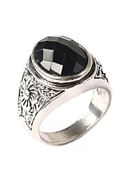 Vintage Carved Gemstone Silver Rings  Retro