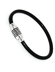 Punk Fashion Men's Bracelet Stainless Steel Pu Leather Magnet Hook Bracelet Alloy Bracelet Chain Bracelets
