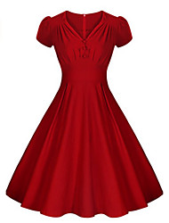 Women's Vintage Solid Swing Dress , V Neck Knee-length Cotton