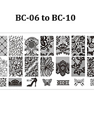 5pcs BC Nail Art Stamp Stamping Plate 6*12cm Nail Template Mould Manicure Stencil Tools (BC-06 to BC-10)