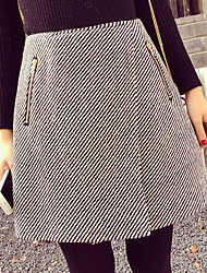 Women's Striped / Solid White / Black Skirts , Vintage / Casual Above Knee