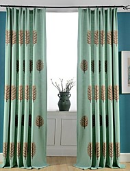 (Two Panels)Modern Trees Embroidered Linen/Cotton Blend Curtain(Sheer Not Included)